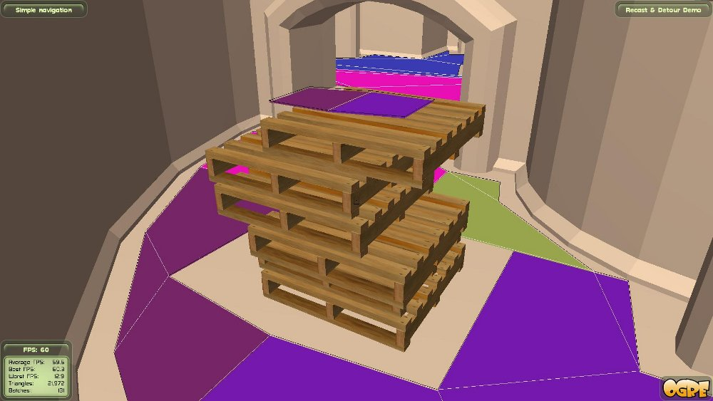 It's also possible to create navmesh islands with new geometry, like on the top of this stack