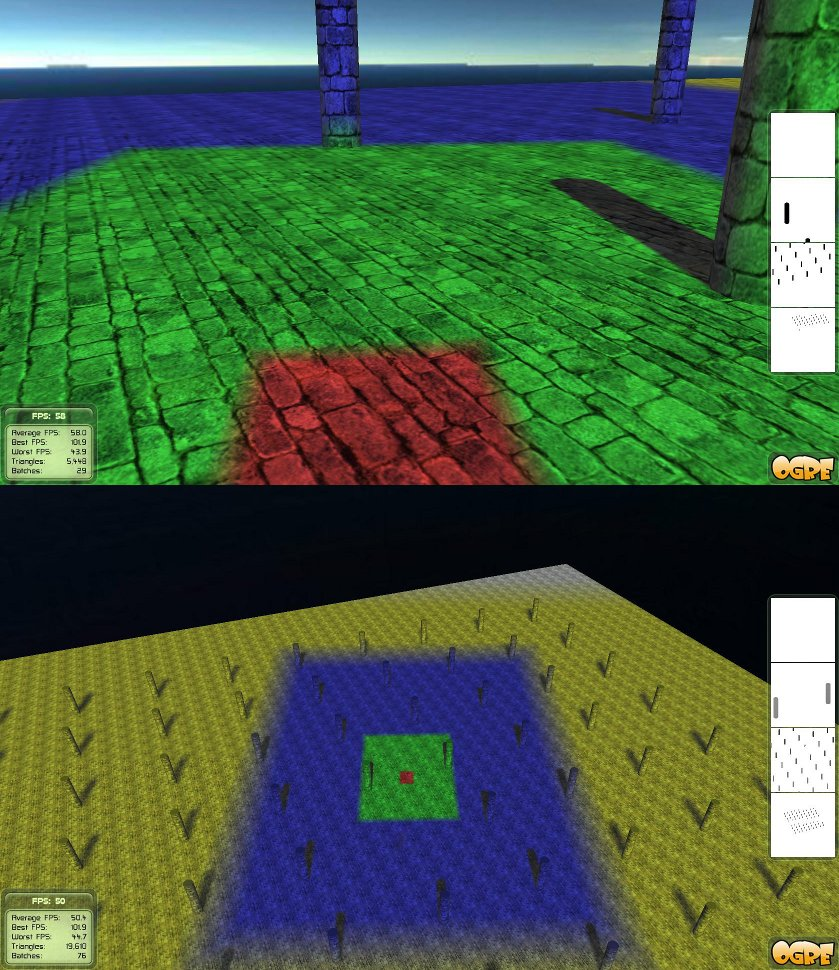 Original Stable CSM demo: Close to the ground it's less noticeable that the cascade center (red) is offset with light direction. (top picture)  When placing the camera higher it becomes noticeable that the near cascade is off (bottom picture).